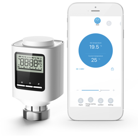 ZigBee valvula termostatica del radiador de calefaccion programable semanal inteligente radiador termostato de control APP Voz Ventana Control de apertura anti congelacion funcion constante cubierta del regulador de temperatura