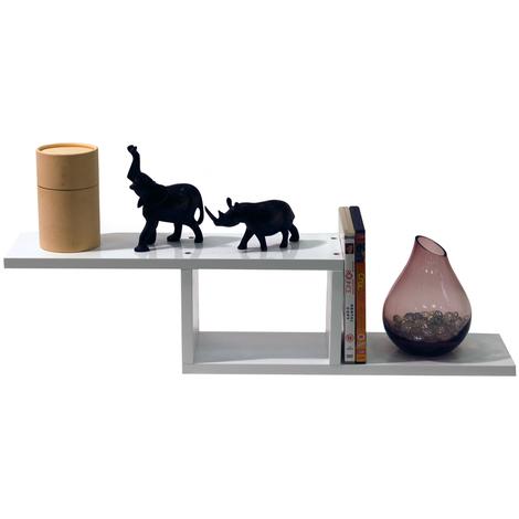 ZIGZAG - Wall Mounted 70cm Floating Storage / Display Shelf - White