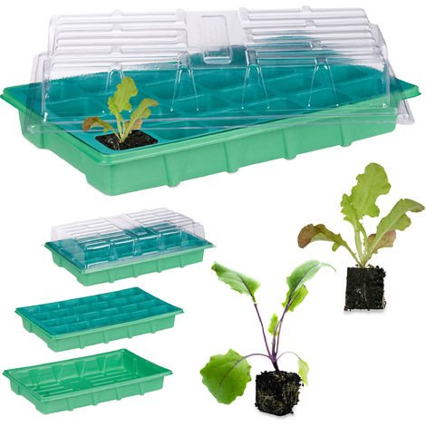 Zimmergewächshaus 24 Pflanzen, Deckel, Mini Gewächshaus, Fensterbank, Balkon, Anzuchtschale 38 x 24,5 cm, grün