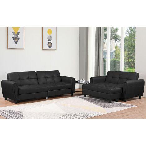 Zinc PU Leather 3STR Sofa Bed with Storage, 2STR Sofa Bed with Storage and Ottoman Bench in Grey or Black. Living Room Furniture Set - Black