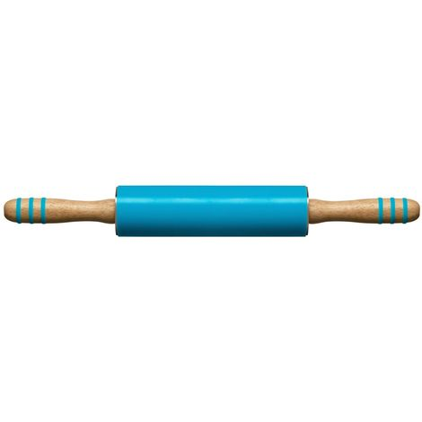 Zing Rolling Pin,Blue Silicone,Rubberwood