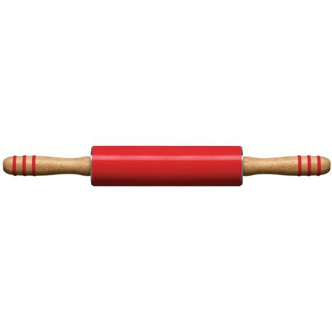 Zing Rolling Pin,Red Silicone,Rubberwood