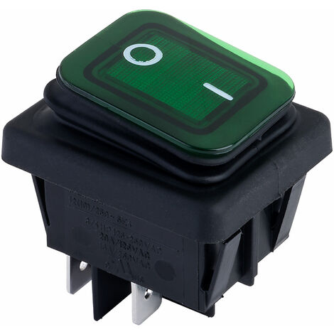 Zip Switch B4MASK48N1E21000 Rocker Switch DPST Off-On 250V AC 16A Green