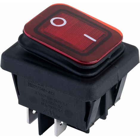 Zip Switch B4MASK48N1G21000 Rocker Switch DPST Off-On 250V AC 16A Red