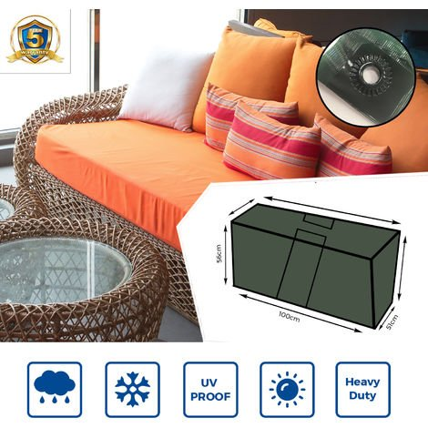 Zipped Waterproof Large Cushion Bag Outdoor Garden Furniture Trunk Storage Case