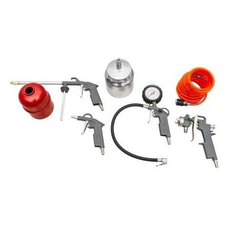 Zipper Accessoires pour compresseur 5 pièces - Pistolet à peinture - Tuyau spiralé - Pistolet à air - Jauge de remplissage de pneus avec nanomètre - Pistolet à peinture