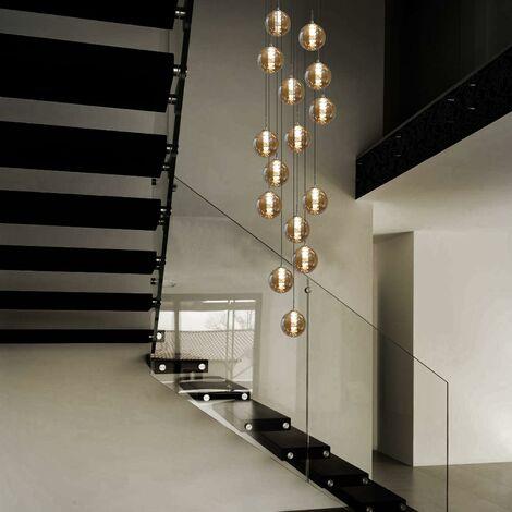 """main image of """"ZMH Pendelleuchte esstisch Pendellampe Höheverstellbar Kronleuchter Hängeleuchte 15-Flammig aus Glas Küchen Wohnzimmerlampe Schlafzimmerlampe Flurlampe (Bernstein, 15-flammig) [Energieklasse A++]"""""""