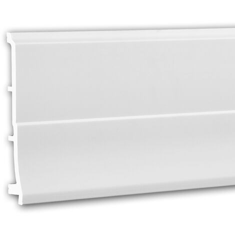 Zócalo 653105 Profhome Perfil de estuco Moldura decorativa diseño moderno blanco 2 m