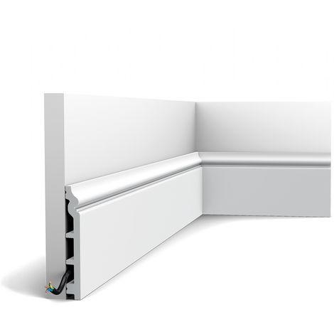 Zócalo Orac Decor SX118-RAL9003 LUXXUS CONTOUR Proteción de cable Moldura decorativa prepintada resistente a los choques blanco señales 2 m