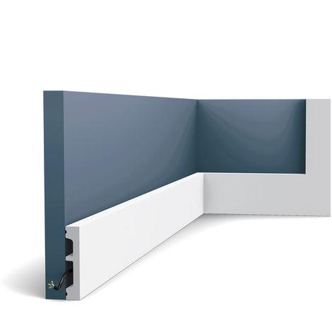 Zócalo Orac Decor SX157 AXXENT SQUARE Zócalo Multifuncional Elemento decorativo para pared diseño moderno blanco 2 m