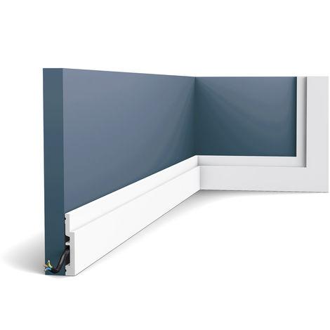 Zócalo Orac Decor SX187 MODERN HIGH LINE Zócalo Multifuncional Elemento decorativo para pared diseño moderno blanco 2 m