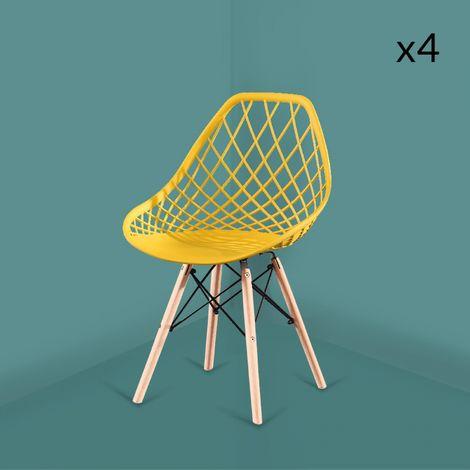 Zoé jaune - Lot de 4 chaises