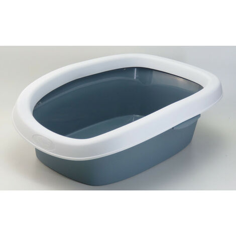ZOLUX Bac a litiere avec rebord anti-projection - 43 x 31 x 14 cm - Bleu acier - Pour chat