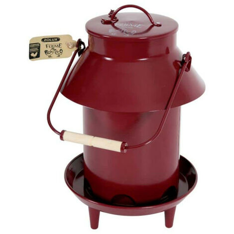 ZOLUX Feeder On stand - With roof - Metal - Red - 3,5Kg - 175643