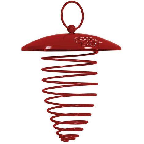 Zolux - Support en Spirale Boule de Graisse avec Toit pour Oiseaux du Ciel - Rouge