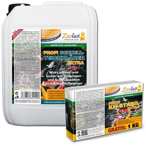 ZOOFUX Profi Gartenteich Schnell-Teichklärer EXTRA 5.000 ml + GRATIS: 1.000 g KH-Stabil (Wirkt sicher & schnell bei Trübungen und Schwebstoffen)