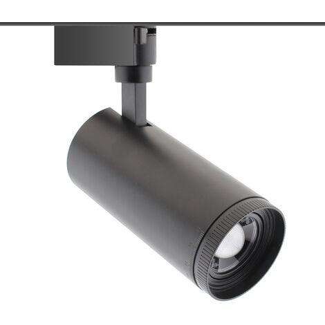 ZOOM RAIL LED 30W, negro, CCT, Ajustable 15-55° monofáscio, 3000-4000-6000K
