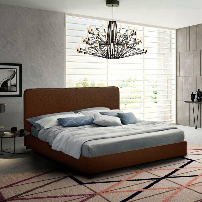Komplett Doppelbett aus Stoff mit Bettrost Queen Size 160x190 cm Zurich King   Farbe: Braun - LLB LIVING LIFE BED