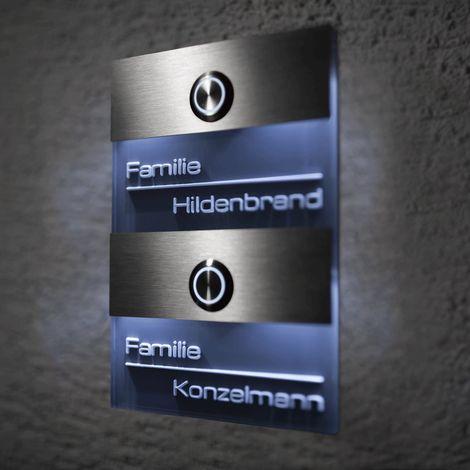 Türklingel Edelstahl 2 Familien Klingelplatte Klingelschild Mehrfamilien LED
