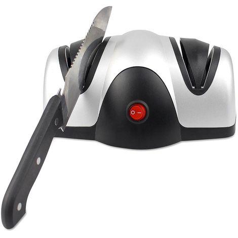 Zweistufiger Messerschärfer, Elektrischer Messerschärfer, Schwarz/Silber, Material: ABS Kunststoff