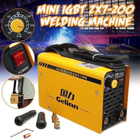 Zx7-200 220V Mini Mma Arc Portable Electric Welder Dc Igbt Welding Machine Soldering Forced Air Cooling Inverter