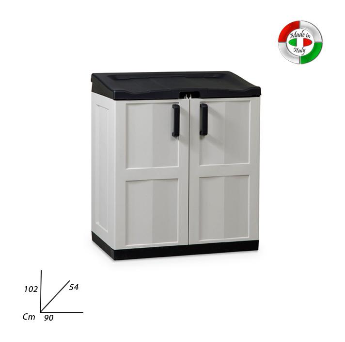 Armadio in resina porta sacchi per raccolta differenziata da esterno p18642 cucina - Armadio in resina da esterno ...