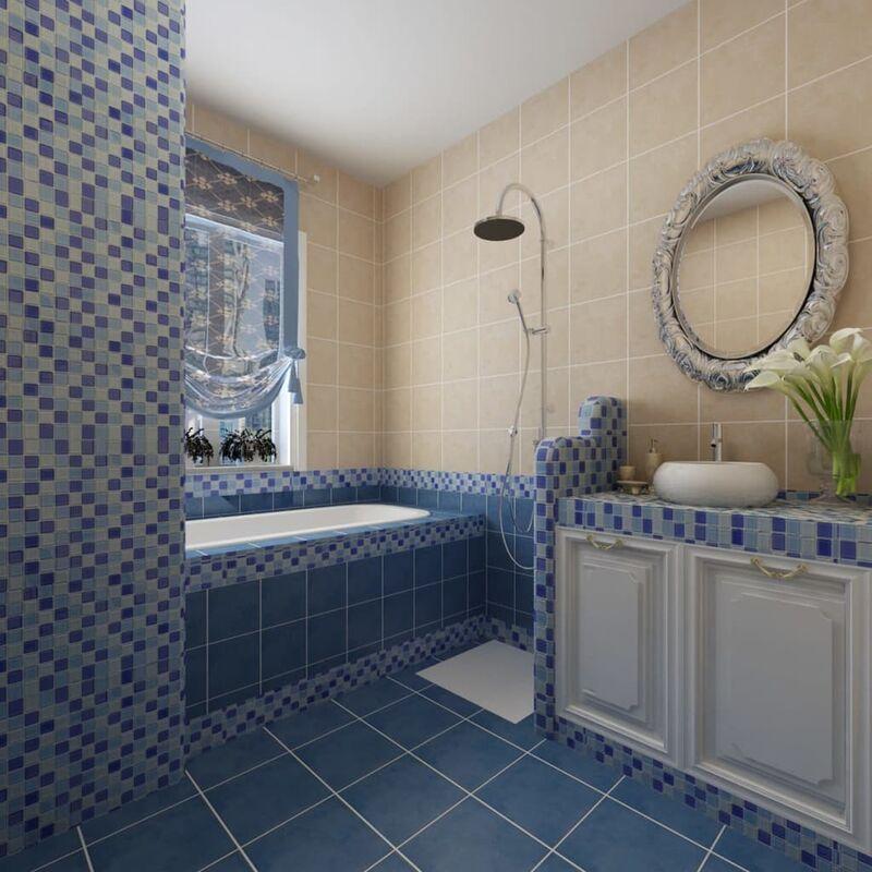 Azulejos Baño Vidrio:Azulejos de vidrio azul, diseño mosaico mezcla de tonos, 10 unidades