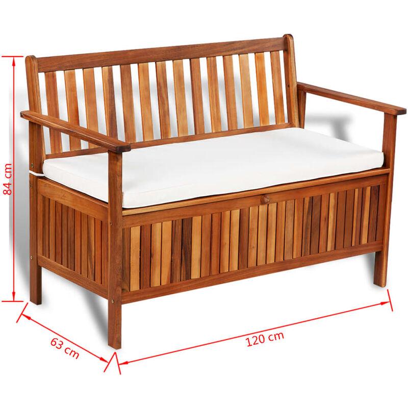 Banqueta de madera con respaldo y ba l almacenaje for Banquitas de madera para jardin