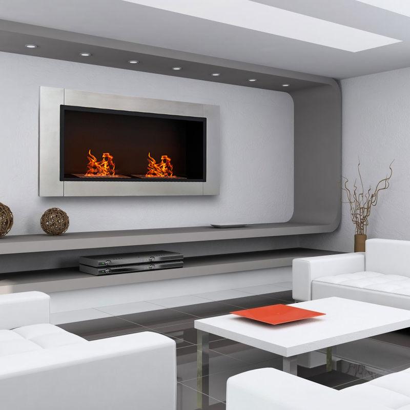 Biocamino design moderno da muro in acciaio inox manhattan - Camini bioetanolo design ...