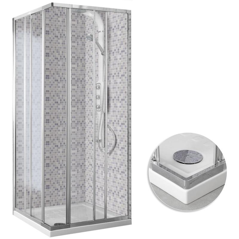 Box cabina doccia angolare 2 ante scorrevoli vetro for Arredo bagno angolare