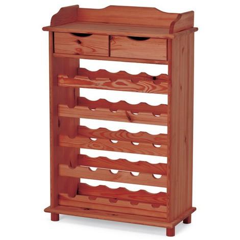 Cantinetta portabottiglie in legno massello da 25 posti cm 60x30x90 noce - A13862 - Ferramenta