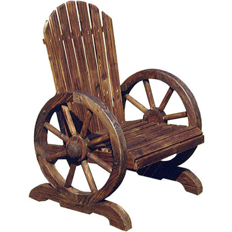Cartwheel Solid Wood Garden Chair Seat Burntwood