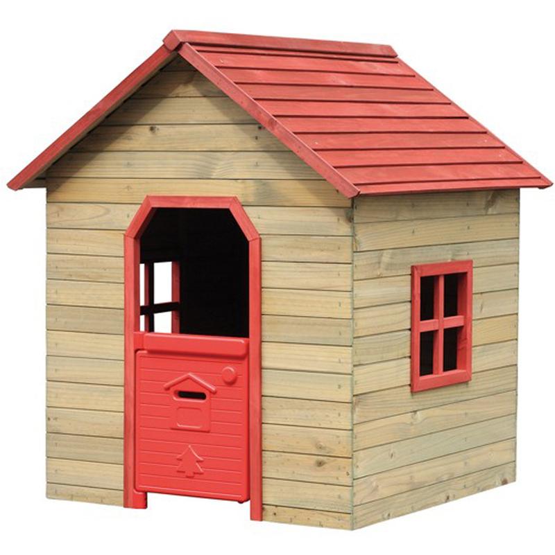 Casetta casa in legno rossa bambini 125x120xh140cm for Casa legno bambini