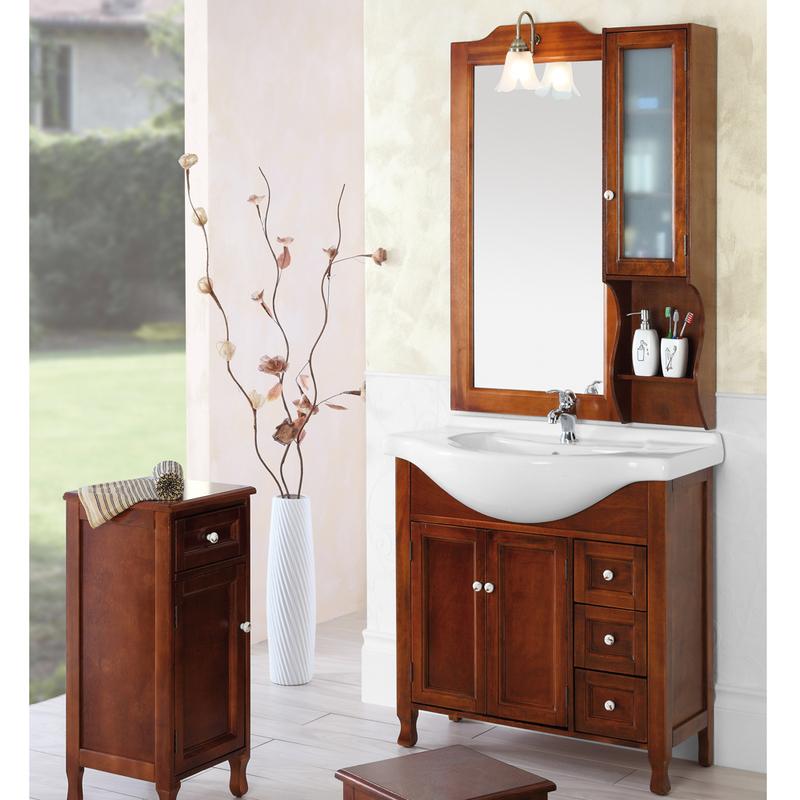 Composizione bagno in legno massello arte povera con - Stock bagni completi ...