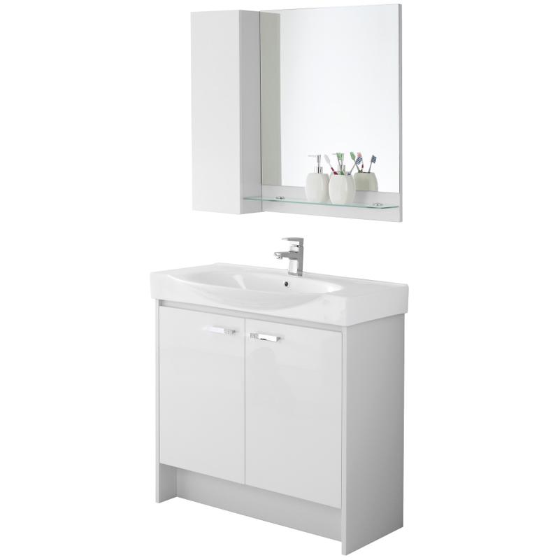 Composizione mobile bagno con consolle specchio pensile mensola due ante 606064 bagno - Pensile bagno con specchio ...