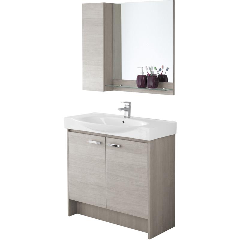 Composizione mobile bagno con consolle specchio pensile - Bagno con due lavabi ...
