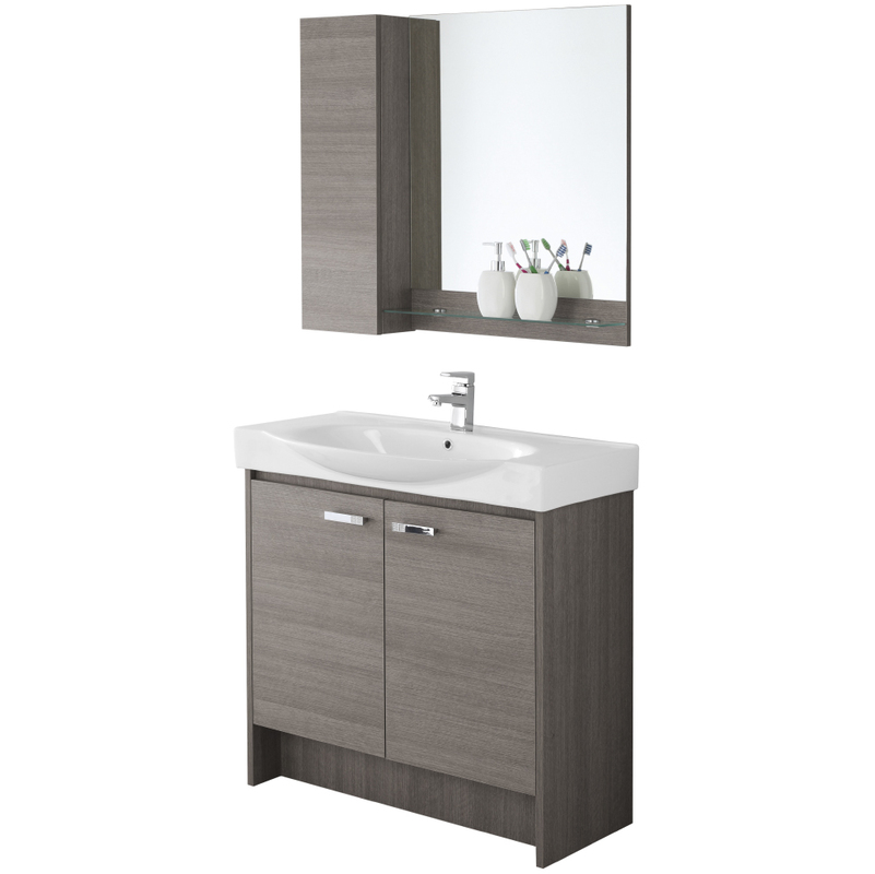 Composizione mobile bagno con consolle specchio pensile mensola due ante 606066 bagno - Specchio bagno con pensile ...