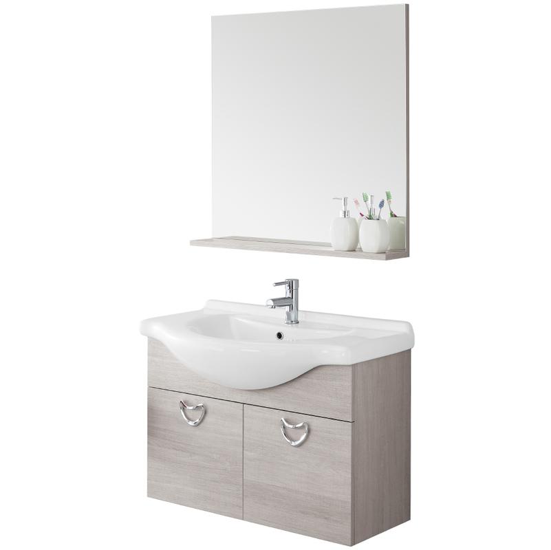 Composizione pensile bagno con consolle ceramica specchio mensola due ante 606062 bagno - Specchio bagno con pensile ...