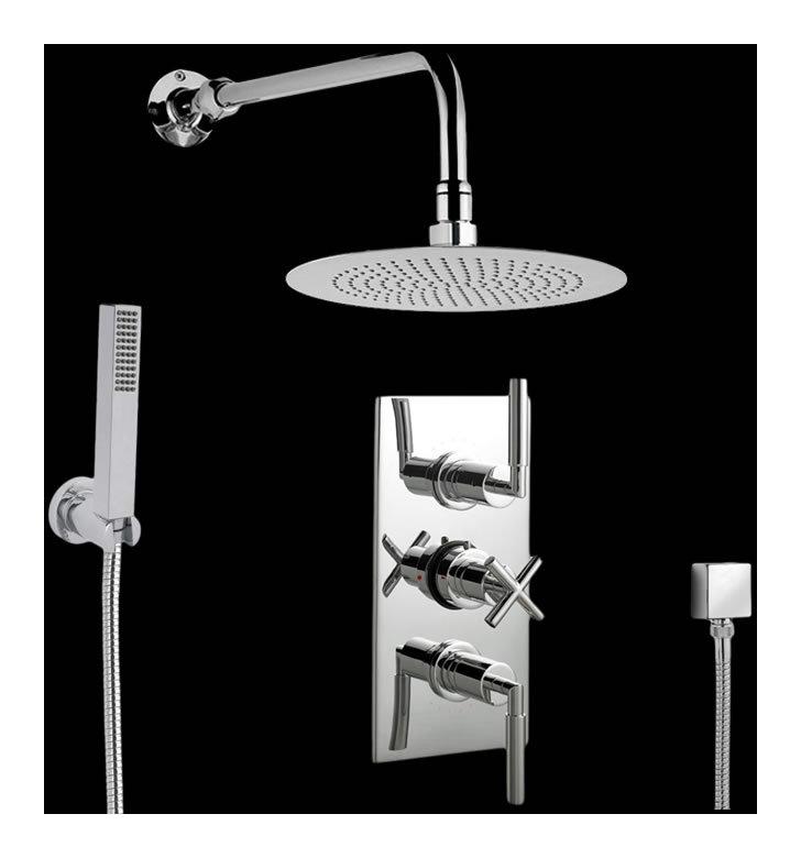 Conjunto de ducha con llave mezcladora termost tica con for Llave mezcladora de ducha