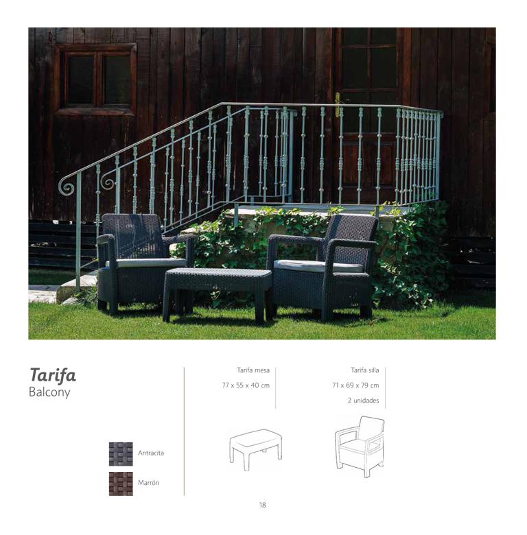 Conjunto terraza 2 sillones y mesa resina mod tarifa for Conjuntos de terraza y jardin