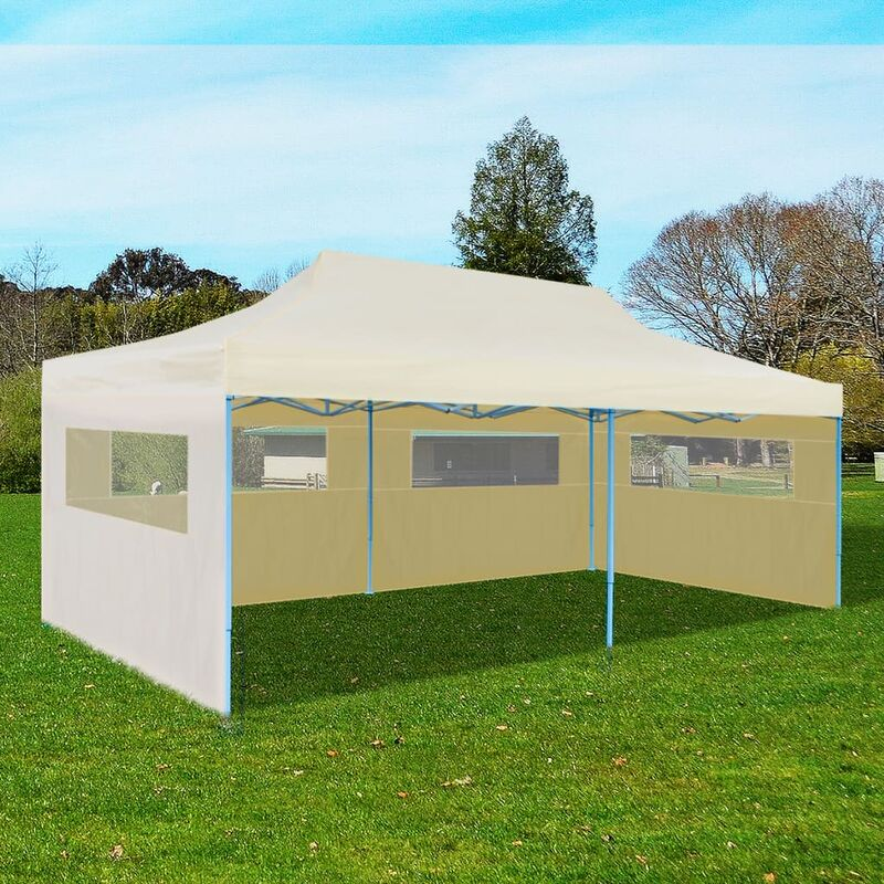 Cream foldable pop up party tent 3 x 6 m garden for Pop up garten pool