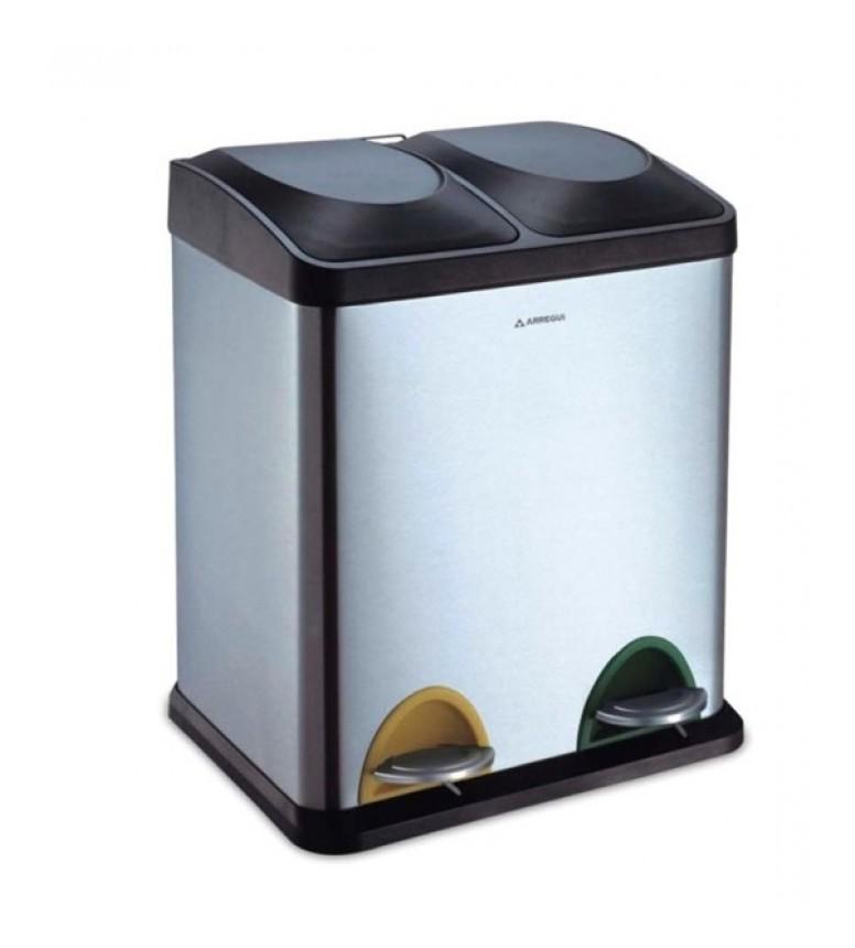 Cubo basura inox reciclaje 2 compartimentos 30lt cr705 - Cubos basura reciclaje ...