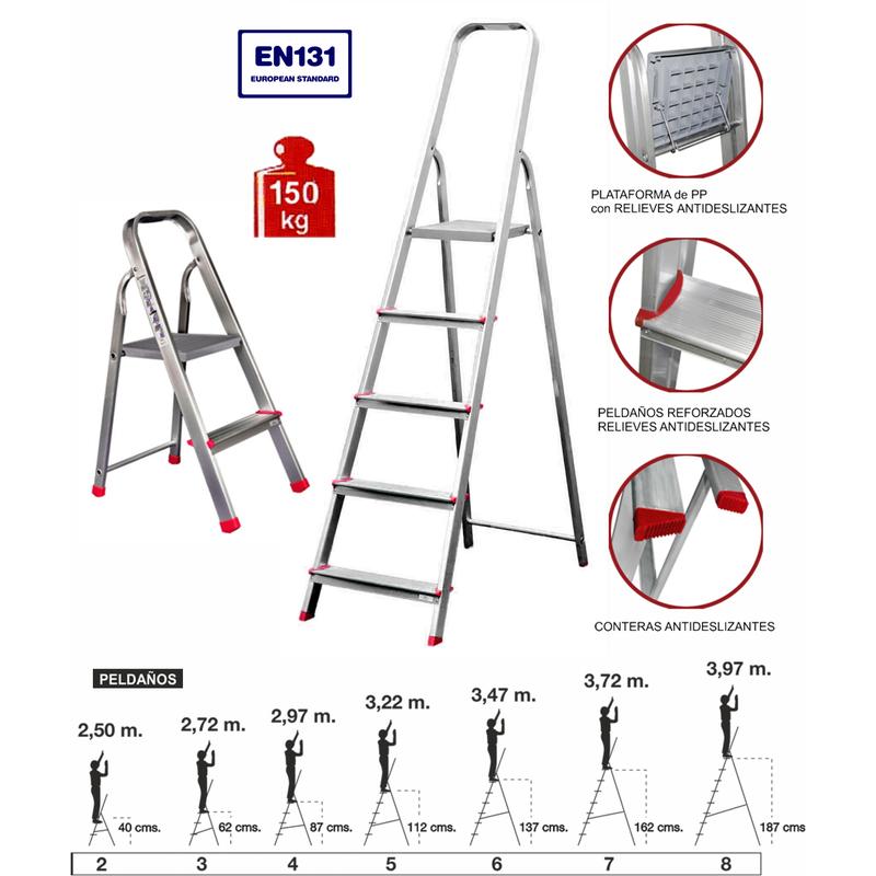 Escalera aluminio domestica 8 pelda os herramientas for Escaleras 8 peldanos
