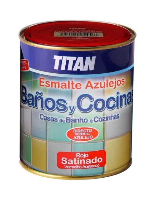 Azulejos Baño Seguro:Pintura para azulejos baños y cocinas Titan (750 mL – Rojo 1405