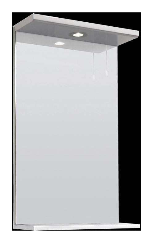 Espejo de 450mm con luz superior y repisa en blanco for Espejos para bano con luz y repisa