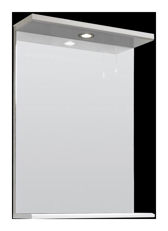 Espejo de 550mm con luz superior y repisa en blanco for Espejos para bano con luz y repisa