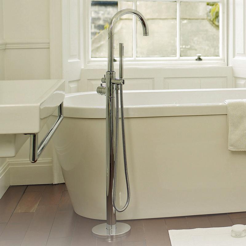Grifo mezclador termost tico autoportante y ducha de mano for Grifo mezclador ducha