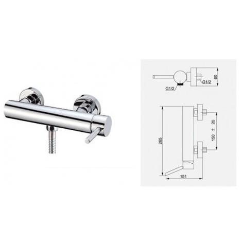 Grifo monomando de ducha aqua tb604pe0011 fontaner a for Grifos mezcladores para ducha