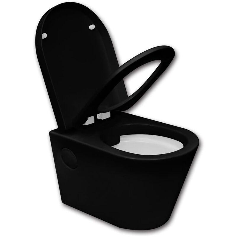 Inodoro montado en pared cer mico wc cuarto de ba o negro - Calefactor de pared bano ...