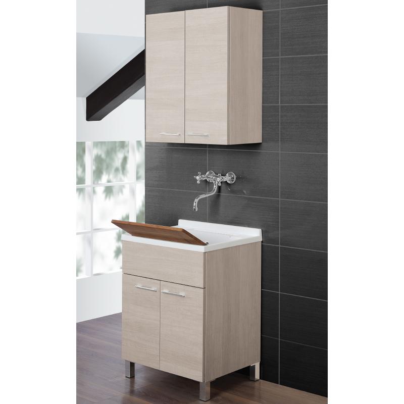 Lavatoio mobile bagno arredo design moderno due ante portaoggetti chiaro 527030 - Bagno